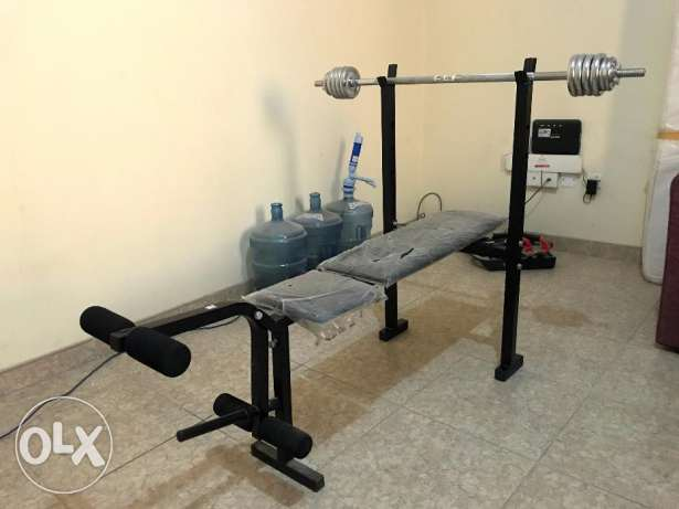 Bench (With Plastic) , Dumbles , Straight Bar & Weights - FOR SALE !!