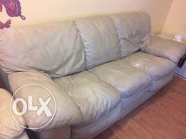 Pure leather sofa/3big seats/become a king size bed+comfy mattress.
