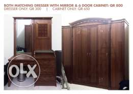 -Matching Dresser with Mirror and a big 6-Door Cabinet: Qr 800 -Dresser only: Qr 300 -Cabinet only: