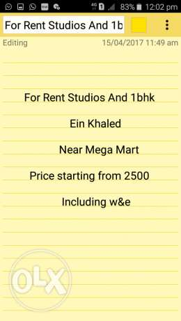 Studios and 1 bhk in ain khalid