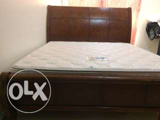 King size bed Solid wood with Leather top and bottom