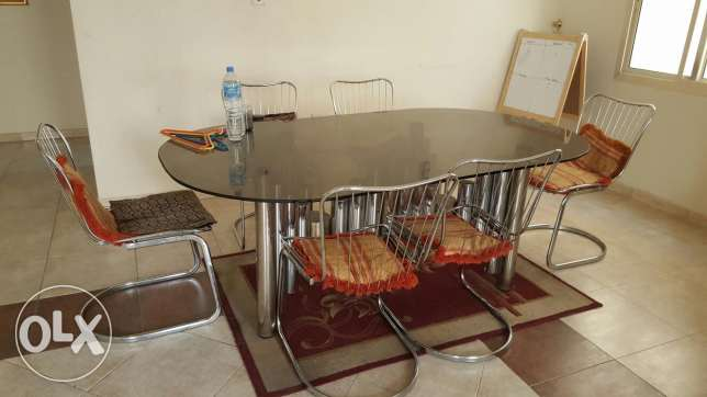 Dinning Table Glass with stainless steel