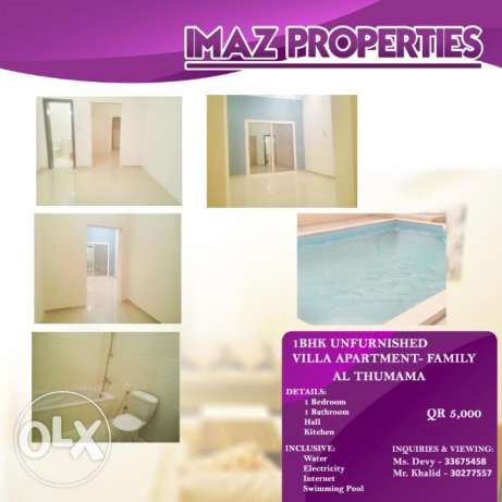 Properties: 01Bhk Unfurnished Apartment