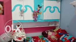 Kids bed with inbuilt cupboard and medicated mattress
