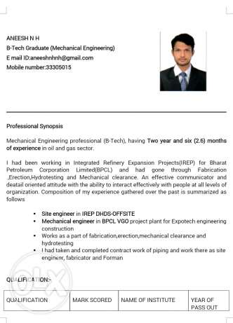B tech mechanical engineer