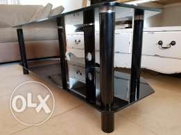 Chrome and Black Glass TV Unit