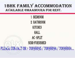 1bhk Family Accommodation Available at Maamoura For Rent.