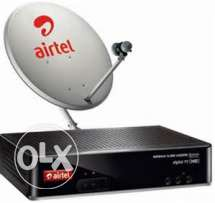 Airtel HD+ Settop box + Dish Antena(Big Size) With Cable for Sale