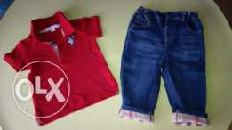 V.cute Burberry polo shirt & jeans set 1 year old