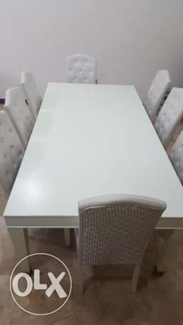 1 large dining table + 8 chairs