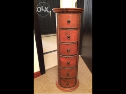 5-drawer wooden Column inlaid with brass strips for sale