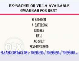 5Bhk Ex-Bachelor Accommodation Available At Wakrah For Rent .