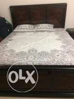 Solid Wood King size bed with mattress and 2 side table