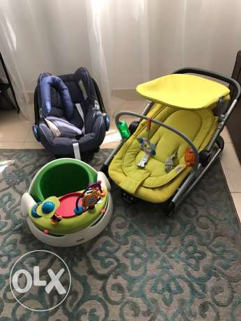 car seat, chair/rocker, booster seat with play tray