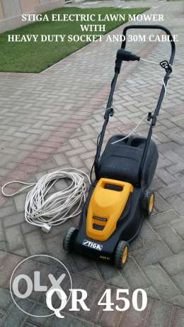 STIGA Electric Lawn mower with heavy duty socket and 30M Cable