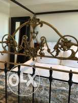 Real Spanish Antique Cast Iron & Brass Queen Size Headboard