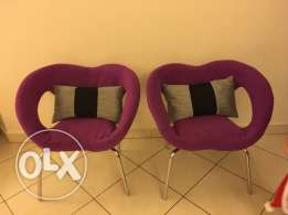 two purple armchair