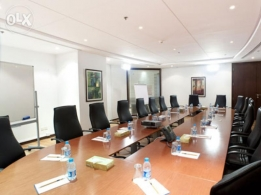 Furnished office spaces with meeting room.