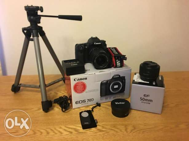Canon Camera 70D With complete lens and Box