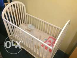 White wooden Baby cart + Mattress from Juniors