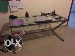 Glass top study/office desk with matching printer table