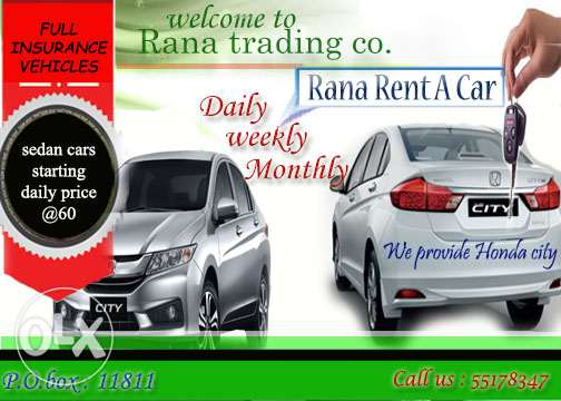 New Honda Cars For rent starting price 1600 qr only !