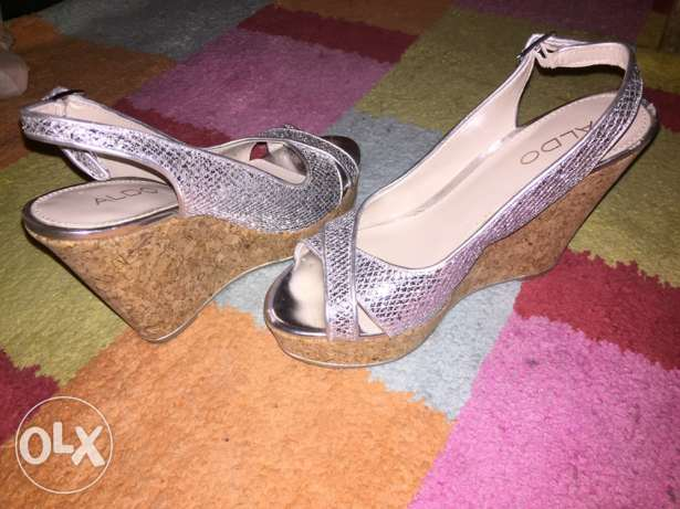 Used once Aldo Silver Wedge Shoes size 36 for Sale for Only 85QR