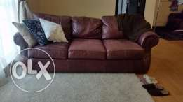 Handsome Sofa Set. Deep Brown, Leather 3-Seather Sofa + Armchair
