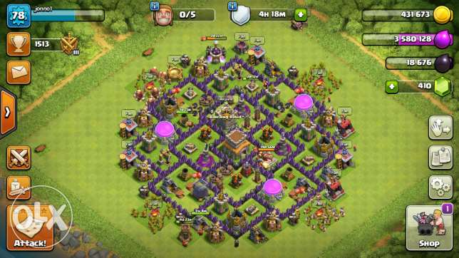 Clash of clan th8 level 78 with 5 builders