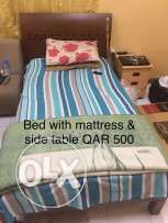 single bed with mattress & side table