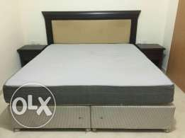 King size bed (without mattress) and 2 bedside tables