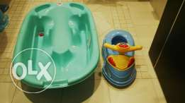 Baby bathtub, motorcycle shape potty & baby chair with suction cups
