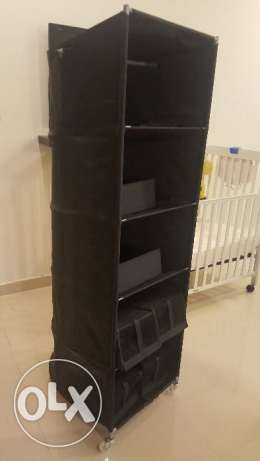 Black organizer with 6 storage boxes