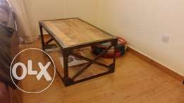 Rustic Wooden and Metal Coffee Table.