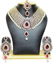 Studded Heavy Necklace Set in Maroon Color