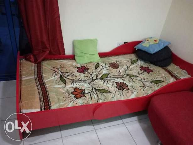 Urgent Sale- Sofa Cum bed, Multi drawer cabinet, bar chairs & baby bed فريج بن محمود -  2