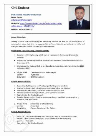 Application for the Post of a Civil Engineer