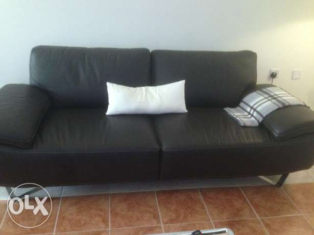 Leather Sofa Set - 3 Seater + 2 Chairs - Like New - 2499/-
