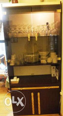 Twin Set of Glass and Wood Cabinet
