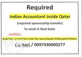 recuired indian accountant inside Qatar