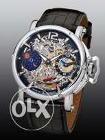 Theorema 'Copacabana' Made in Germany Mechanical Silver Black Leather