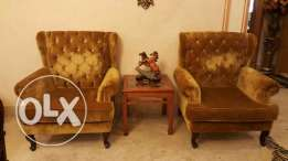 2 big size armchairs with wooden small table