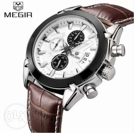 MEGIR Original Men Quartz Genuine Leather Chronograph Sports watch