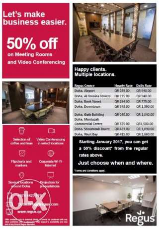 50% off discount on Meeting Rooms and Video Conferencing