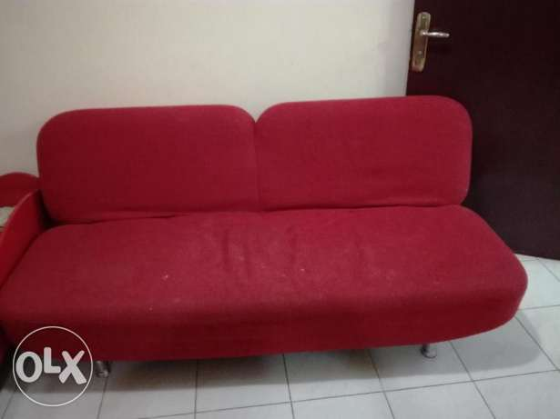 Urgent Sale- Sofa Cum bed, Multi drawer cabinet, bar chairs & baby bed فريج بن محمود -  1