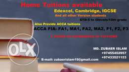 Home tuitions available for ACCA FIA- FA1, FA2, MA1, MA2, F1, F2, F3