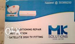 Air conditioning servicing and repairing. Satellite dish tv fitting
