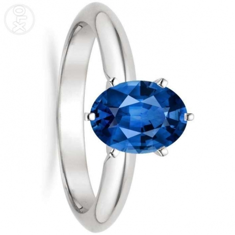 blue suphire ladies ring for sale white gold 2gm