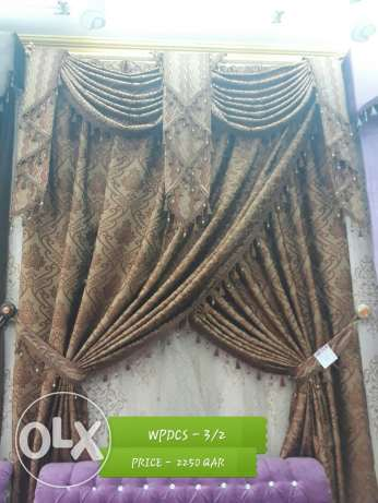 wood pipe decor curtain set