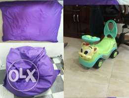 Bean bag with Toy car ( together ) for sale